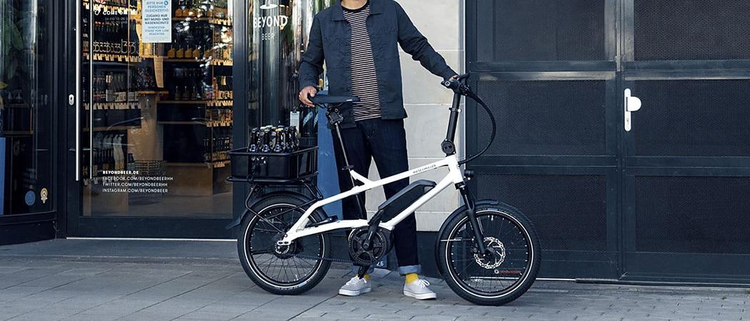 compacte elektrische fiets met bagagerek