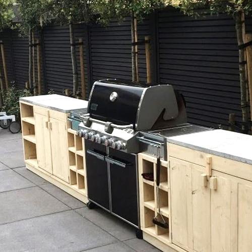 buitenkeuken met gasbarbecue inbouw